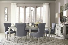 Coralayne EXT Dining Room Table & 6 UPH Side Chairs