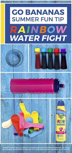 Add more color to your summer in 3 easy steps, with a rainbow bright water fight! 1) Fill water bottles with equal parts tap water and cornstarch to help thicken the mixture. 2) Add a few drops of food coloring to each and shake. 3) Attach your balloon to the top of the bottle to fill with color. Grab your Banana Boat® Kids Tear-Free Sting-Free Continuous Lotion Spray Sunscreen SPF 50+ and take your fun outside. For more tips, head over to BananaBoat.com.