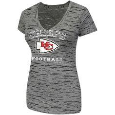 Kansas City Chiefs Women's Pride Playing IV V-Neck Slim Fit Burnout T-Shirt - Black - $23.99