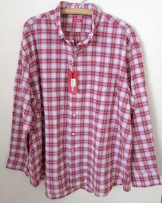 NEW Izod Plaid Shirt Size 2XL Red Navy Button Front Long Sleeve Cotton Blend #Izod #ButtonFront