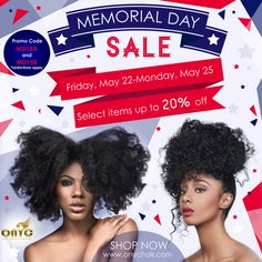 The #ONYCHair #MemorialDay Sale starts this Friday! *MD15A - 12% off ALL Collections EXCEPT Kinky Curly and Fro Out.  MD15B - 12% off of purchases $500 or more for Kinky Curly and Fro Out.  Save up to 20% on select #hair bundle deals!  This sale only lasts for 3 days. So don't delay!   Shop Now >>> onychair.com