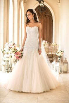 GORG blush lace fit and flair gown!   Stella York available at Lilla's Bridal  Pin from DreamWeddingsPA.com