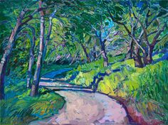 California impressionism painting of oak trees in a modern style, by contemporary oil painter Erin Hanson.