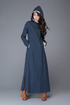 Blue long sleeve linen dress / women's linen dress / loose