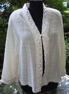 Vintage 60's Rare Christian Dior Crocheted Lace Quilted Satin Bed Jacket Robe M #ChristianDior