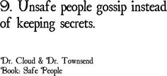 Personal Traits of Unsafe People    *** Dr. Cloud and Dr. Townsend are highly recommended by Leslie Vernick ***  #Relationships, #Family, #quotes
