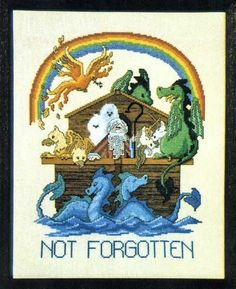 Not Forgotten Cross Stitch Pattern - Definitely a different twist on the story of Noah's ark. This version is loaded down with all the animals that shouldn't have been left off the ark. Dragons, unicorns, gryphons, and more cavort on deck as a rainbow spreads over the sky. Stitch count is 140 w by 180 h. ©Dragon Dreams