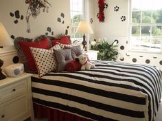 101 Dalmatians makes a great theme for this black-and-white young girl's room with red accents. The Southill model by Ryland Homes in Zionsville, IN.