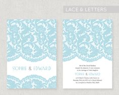 A romantic design decorated with a vintage lace pattern, printed onto lovely 320gsm textured card, double sided. The design can be adapted to a colour of your choice for free! From £2.20 per invite. www.fairyfrog.co.uk