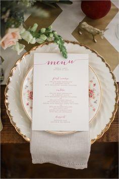 pink and gold menu on vintage china