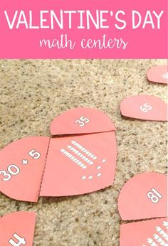These fun, Valentine's Day math activities and centers are the perfect games to play during February! First graders practice place value, telling time, story problems and more with these 6 centers! Centers First Grade, First Grade Activities, 1st Grade Math, Math Centers, Math Activities, Math Stations, Grade 2, Games For Kids Classroom, Math Classroom