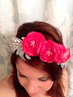 Bridal or Christmas flower crown hair wreath with by HollyHoopsArt, $45.00