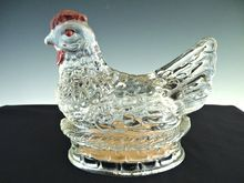 Vintage glass hen on nest candy container Jeanette