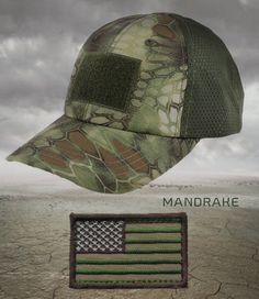 Condor Kryptek Mandrake Mesh Tactical Operators cap hat with VELCRO FLAG PATCH
