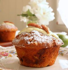 Delicious Feijoa muffins, filled with tart Feijoas & sweet white chocolate & mixed with natural, unsweetened yoghurt. Fejoa Recipes, Guava Recipes, Fruit Recipes, Muffin Recipes, Other Recipes, Baking Recipes, Dessert Recipes, Recipies, Baking Ideas