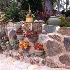 Neat idea - Planters imbedded in a masonry wall Garden Gates, Garden Art, Garden Ideas, Backyard Projects, Outdoor Projects, Garden Projects, Outdoor Ideas, Diy Projects, Large Terracotta Pots
