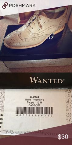 NEW-Wanted Babe Oxfords, Size 10 New in the box, size 10 oxfords. Selling because they do not fit. If you have any questions, please feel free to ask. Smoke free home. Wanted Shoes Flats & Loafers