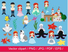 4-JDI/ Little Mermaid clipart / little princess clipart / princess vector / mermaid princess clip art / for personal and commercial use by JulyDigitalImages on Etsy https://www.etsy.com/listing/223720508/4-jdi-little-mermaid-clipart-little