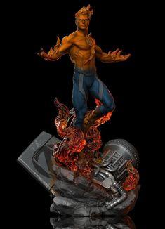 ArtStation - Human Torch FA, Earl Vincent Kasilag 3d Figures, Action Figures, Miles Morales Spiderman, Marvel Statues, Marvel Costumes, Human Torch, Fire Nation, Marvel Art, Comic