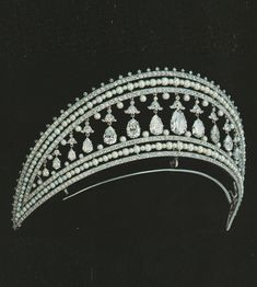 Lavabre for Cartier Paris - A Belle Epoque platinum, diamond and pearl Russian diadem, circa Source: Cartier - Judy Rudoe Royal Crowns, Royal Tiaras, Tiaras And Crowns, Royal Jewelry, Luxury Jewelry, Vintage Jewelry, Diamond Crown, Tiara Hairstyles, Circlet