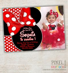 Minnie Mouse Birthday Invitation Red Minnie by PixelPerfectShoppe, $10.00
