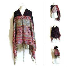 Black and Red Pashmina Shawl  Gypsy Hippie by LadyHoudiniShawls