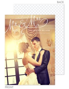 Mr and Mrs Wedding Photo Announcements