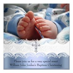 Shop Baptism Blue White Lace Photo Jewel Cross Boy Invitation created by InvitationCenter. Invitation Paper, Custom Invitations, Party Invitations, It's A Boy Announcement, White Lace, Blue And White, Christening Invitations, Paper Design, Party Planning