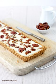 Crostata, senza cottura, al cioccolato bianco e noci Pecan by La tana del coniglio
