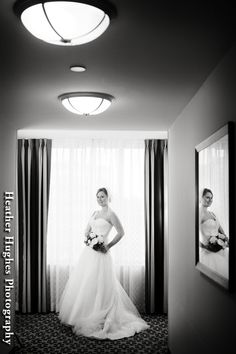 Lovely bridal portrait in the Marriott hotel hallway by Heather Hughes Photography.