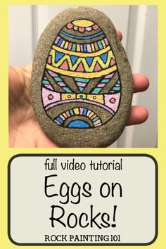 Create beautiful Easter egg painted rocks with this fun rock painting idea. With hints of Mandala art as inspiration, this rock is perfect for the beginner. #easterrock #eastereggrock #paintedrock #mandala #rockpainting #stonepainting #rockpainting101