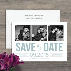 Bold Type Wedding Save The Date-show off your soon-to-be spouse with a cute picture collage