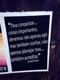 Para conquistar coisas importantes, devemos não apenas agir mas também sonhar, não apenas planejar mas também acreditar. _Anatole France