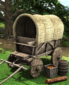 The medieval wagon trundles slowly from farmstead to village, town to city, trading their wares to all they meet.or the medieval wagon can transport you where ever you Wood Projects, Woodworking Projects, Wooden Wagon, Old Wagons, Covered Wagon, Gypsy Wagon, Wagon Wheel, Le Far West, Wheelbarrow