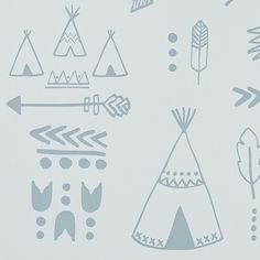 Teepees, arrows, tribal motifs and feathers adorn our native inspired wallpaper. Perfect for your mini adventurer! Available in two stylishly muted colourways: