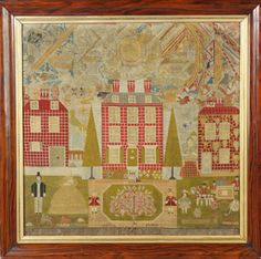 """Early 19th Cent. Needlework of a street scene and family. With Carriage, children, animals, birds, butterflies, etc. 27"""" x 27"""". Ex. Denise Bruns Collection."""