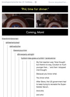 Phil Coulson....NO FREAKING WAY!! That would be awesome! Click on it and read the whole thing