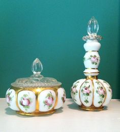 Fenton Milk Glass Silver Crest Charleton Dresser Set Powder and Perfume Roses AWCO