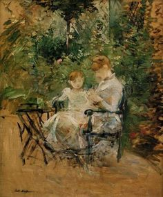 In the Garden,  Berthe Morisot. French Impressionist Painter (1841 - 1895)