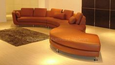 Curved Brown Leather Sectional Sofa at GoWFB.ca | True Contemporary | Free Shipping