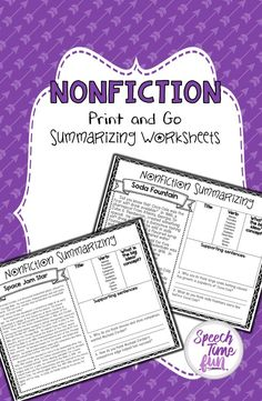 Nonfiction Summarizing Print and Go Pack - no prep fun for working on language skills in speech and language therapy using high-interest reading passages