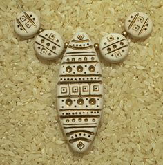 Tribal - polymer clay focal bead set pendant