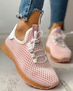 chicme / Hollow Out Colorblock Breathable Lace-Up Sneakers Yeezy Sneakers, Casual Sneakers, Casual Shoes, High Top Sneakers, Shoes Sneakers, Adidas Shoes, Mens Fashion Shoes, Sneakers Fashion, Style Fashion
