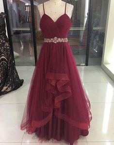 Burgundy Prom Dress,V-Neck Prom Dress,Tulle Prom Dress,Spaghetti Straps Prom Dress,Burgundy Evening Dress