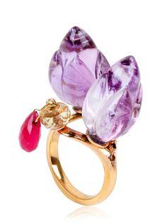 Alice Cicolini - Pink Double Lotus Amethyst Ring.