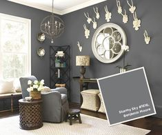 Ballard Designs: Stormy Sky #1616, Benjamin Moore. I love this color, but the room is too small. Maybe an accent? #livingwalls