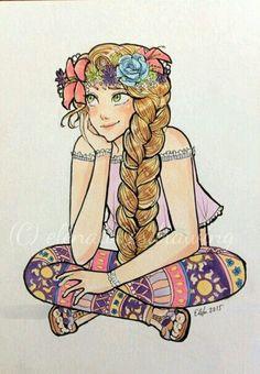 Modern Rapunzel by elenalovesdrawing