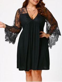 Büyük Beden Elbise Modelleri Siyah Kısa V Yaka Uzun Dantel Kollu