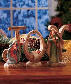 "JOY Nativity - I LOVE how baby Jesus is cradled in the ""O"". $7.95 #christmas #nativity #jesus #reasonfortheseason #joytotheworld"