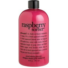 Women's philosophy 'raspberry sorbet' award-winning ultra-rich 3-in-1... ($17) ❤ liked on Polyvore featuring beauty products, bath & body products, body cleansers, beauty, makeup, fillers, pink fillers, pink and bubble bath